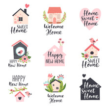 Family House Logo Design Concepts, Real Estate Icons, Home Decor Store Emblems With Spring Flowers And Calligraphy Text. Hand Drawn Vector Illustration.