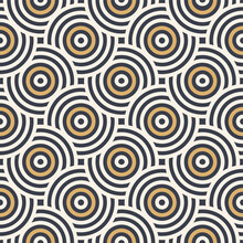Abstract Seamless Pattern. Concentric Circles. Intersecting Repeating Circles Background. Overlaping Circles. Stylish Texture. Repeating Geometric Tiles. Flat Design. Vector Color Background.
