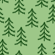 Spruce Forest Seamless Pattern. Simple Seamless Christmas Tree Background. For Wrappers, Fabrics, Backdrops, Children's Rooms, Etc.