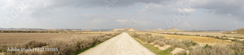panorama of a gravel road leading into a wild desert landscape under an expressive cloudy sky