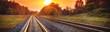 Leinwandbild Motiv Railway track in the evening in sunset