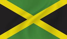 Grunge Jamaica Flag. Jamaica Flag With Waving Grunge Texture.