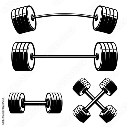 Fototapeta Set of barbell and dumbbells isolated on white background. Design element for logo, label, sign, emblem, poster. Vector illustration obraz