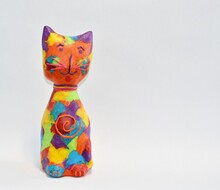Abstract Calico Cat Paper Mache Sculpture