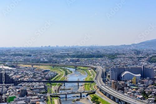 展望台から望む川西市、池田市、宝塚市の市街地 Poster Mural XXL