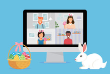 Peoples Celebrating The Easter Holiday On Video Conferencing Calls On The Computer. New Normal And Covid 19 Concepts. Flat Design Vector Illustration