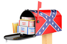 Mailbox With Confederate States Of America Flag. 3D Rendering