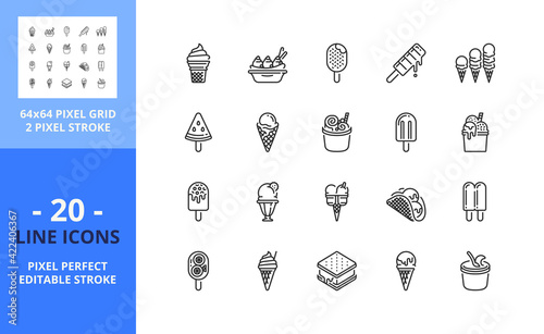 Foto Line icons about ice cream