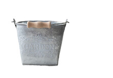 Decorative Metal Bucket With The Inscription Garden