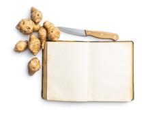 Blank Cookbook And Raw Jerusalem Artichoke. Topinambur Vegetable Root