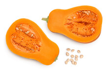 Butternut Squash Half Isolated On White Background With Clipping Path And Full Depth Of Field. Top View. Flat Lay