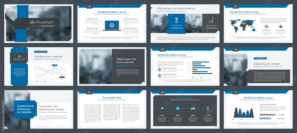 Fototapeta Powerpoint and keynote presentation slides design template. Elements of infographics for presentations templates, annual report, leaflet.Corporate report, advertising template in vector Illustration.