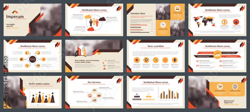 Fototapeta Powerpoint and keynote presentation slides design template. Elements of infographics for presentations templates, annual report, leaflet.Corporate report, advertising template in vector Illustration.  obraz