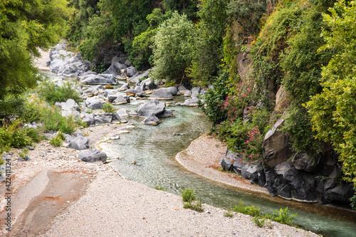 Fotografia, Obraz Basalt rocks and pristine water of Alcantara gorges in Sicily, Italy