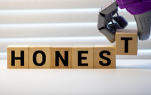 Honest From Wooden Letters On Wooden Background