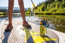 A Girl Paddle Boarding On Haviland Lake, San Juan National Forest, Durango, Colorado.