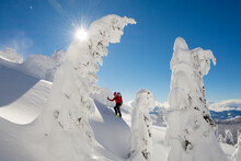A Man Backcountry Skiing The Bonnington Traverse, Selkirk Mountains, Columbia Mountains, Nelson, British Columbia.