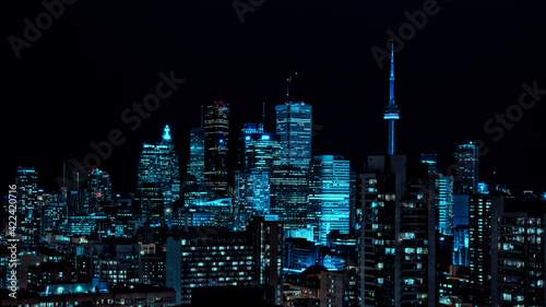 Fototapeta premium Toronto's colourful and vibrant night skyline