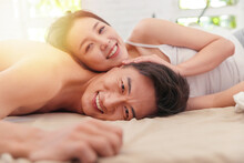 Close Young Lovers Lying In Bed