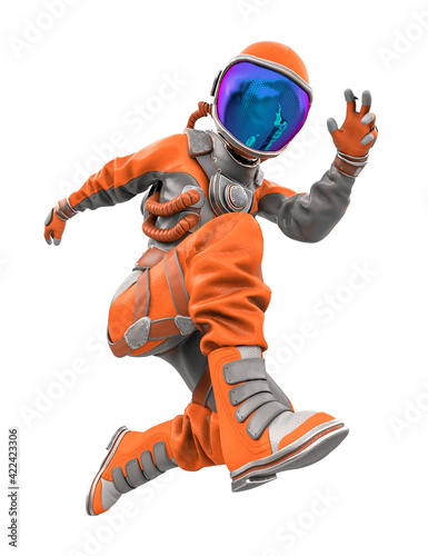 astronaut girl jumping fast