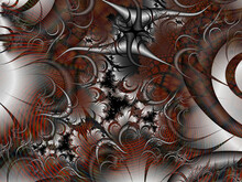 Silver Red Violet Thorns, Fractal, Abstract Fractal Background With Circles