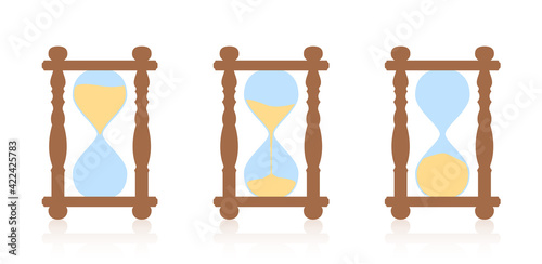 Fototapeta Hourglass - start, halftime and finish sequence