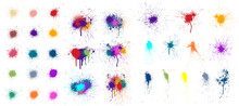 Colored Blots, Paint Drops And Splashes Isolated On White Background. Paint Splatter, Stains Set, Compositions Of Spots. Colorful Splash And Drip Design. Watercolor Spots. Vector Set Grunge Design