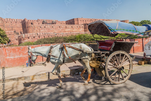 Canvas Horse cart in front of Agra Fort, Uttar Pradesh state, India