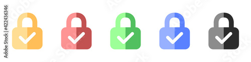 Lock with check mark icons set Wallpaper Mural