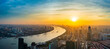 canvas print picture - Aerial view of modern city skyline and buildings at sunrise in Shanghai.