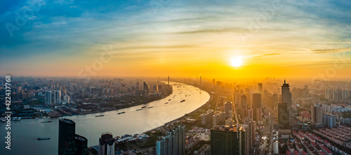 Fototapeta Aerial view of modern city skyline and buildings at sunrise in Shanghai. obraz