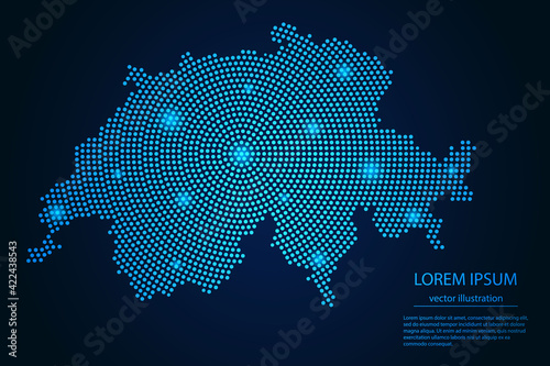Abstract image Switzerland map from point blue and glowing stars on a dark background. vector illustration.