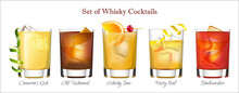 Set Of Whisky Cocktails, Vector Format In Isolated Background.