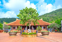 Landscape Outside Ho Quoc Pagoda, Where Spiritual Culture Of Locals And Tourists Coming To Phu Quoc Island, Vietnam