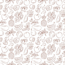 Berries. Fruits. Vintage Seamless Pattern With Fruits.
