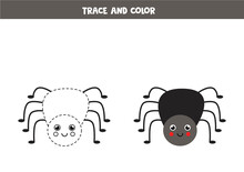 Trace And Color Cute Spider. Worksheet For Kids.