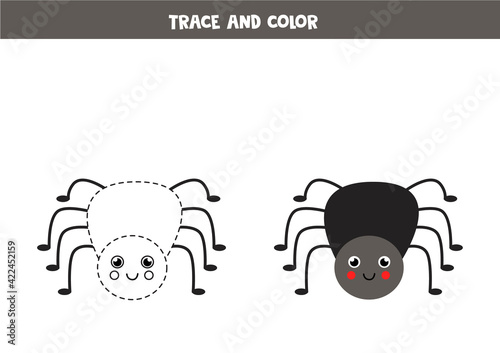Photo Trace and color cute spider. Worksheet for kids.
