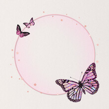 Shimmery Pink Butterfly Frame Circle Holographic Illustration