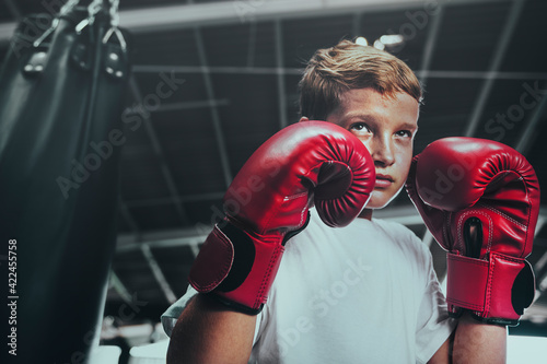 Fototapeta Young man getting ready for boxing obraz