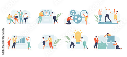 Business people group concept. Planning, teamwork, discussion, collaboration. Vector web Template Set