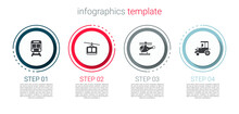 Set Train And Railway, Cable Car, Helicopter And Tractor. Business Infographic Template. Vector