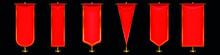 Red Pennant Flags Different Shapes Gold Pillar