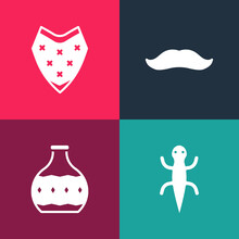 Set Pop Art Lizard, Tequila Bottle, Mustache And Poncho Icon. Vector