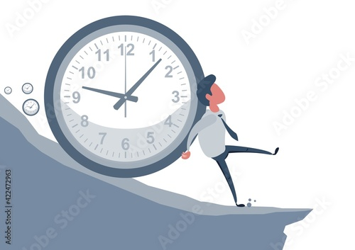 Fotografie, Obraz Concept of the anxiety of passing time, with a man who tries to stop time, symbolized by a clock that pushes him on a slope, to a fatal outcome