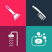 Set Pop Art Bar Of Soap, Shower, Hairbrush And Rubber Plunger Icon. Vector