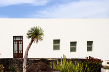 Typical Canary Islands Modern Building Construction. White House With Window And Palm Tree.