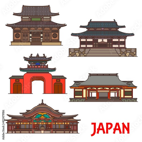 Canvas Print Japan, temples and shrines architecture, Japanese Buddhist landmarks, vector buildings