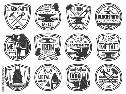 Leinwand Poster Blacksmith forge works on steel and metal, vector icons of smith hammer and anvil