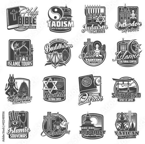 Fototapeta Religions of world, religious symbols of Christianity Catholicism, Buddhism and Orthodox, vector icons