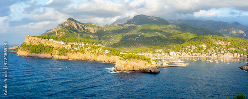 Fototapeta Panorama of Port Soller in Mallorca, Balearic islands, Spain obraz
